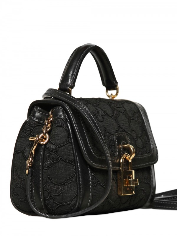 Dolce Amp Gabbana Mini Dolce Bag Lace Leather Top Handle In