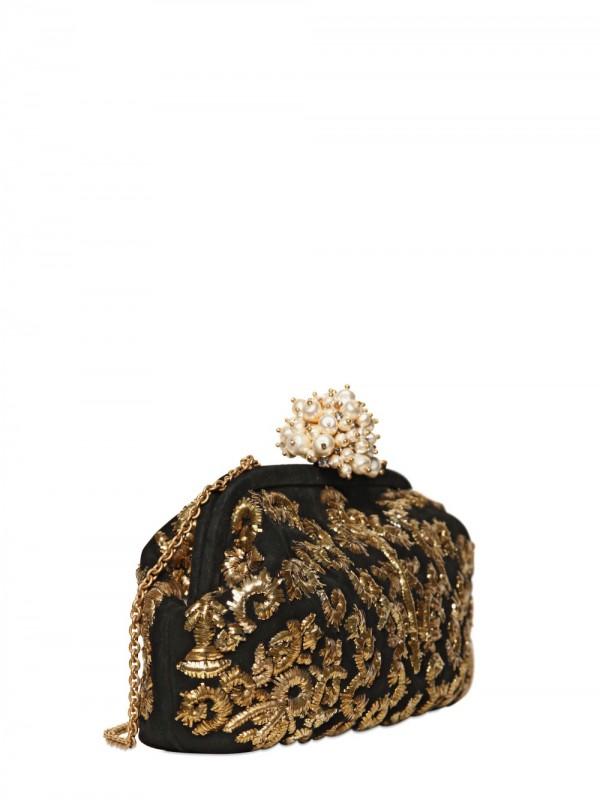 eeb04db91b Lyst - Dolce   Gabbana Miss Dea Embroidered Suede Clutch in Metallic