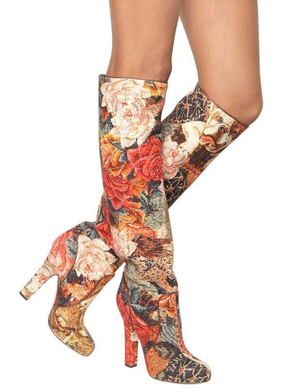 Lyst Dolce Amp Gabbana 130mm Brocade Floral Boots