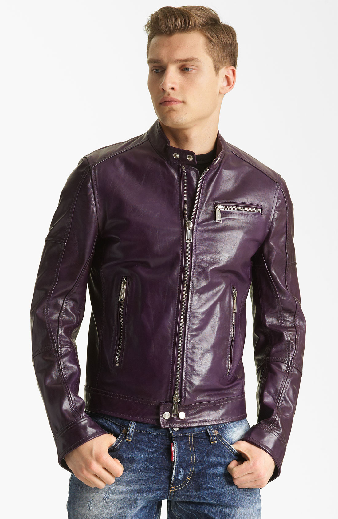Dsquared² Leather Jacket in Purple for Men
