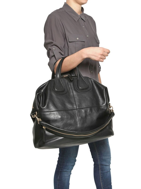 34db8f1bf0 Lyst - Givenchy Large Nightingale Waxy Leather Bag in Black