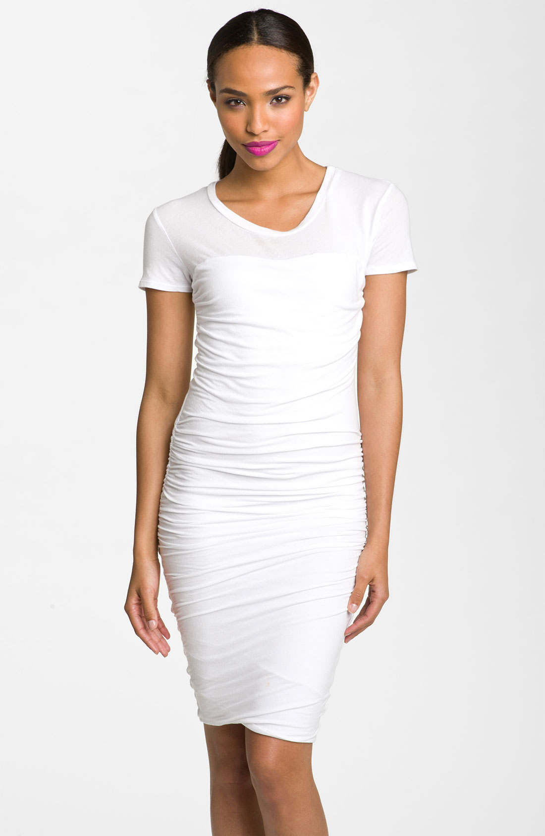 James perse ruched tshirt dress in white lyst for James perse t shirts sale
