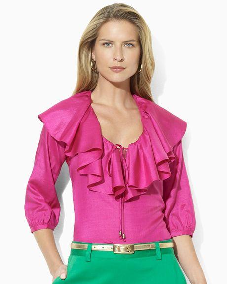 Brilliant Lauren By Ralph Lauren Plus Size Zippocket Satin Blouse In Blue Capri