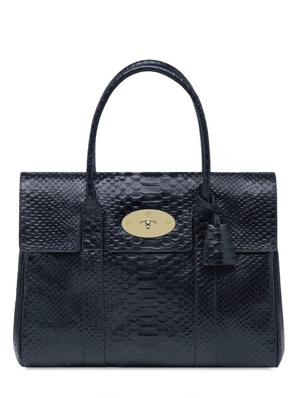 Mulberry Bayswater Silky Snake Shiny Leather Bag in Blue (navy)