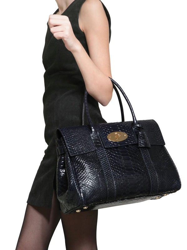 Lyst Mulberry Bayswater Silky Snake Shiny Leather Bag In Black