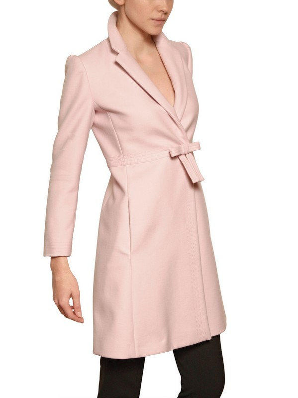 Red valentino Structured Wool Bow Coat in Pink | Lyst
