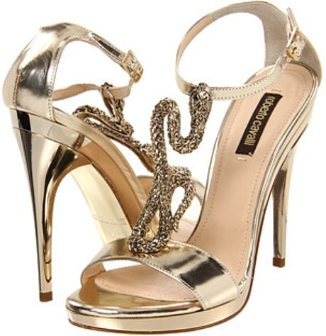 Roberto Cavalli Calf Sandal Pump with Gold Metal Snake Detail in Gold