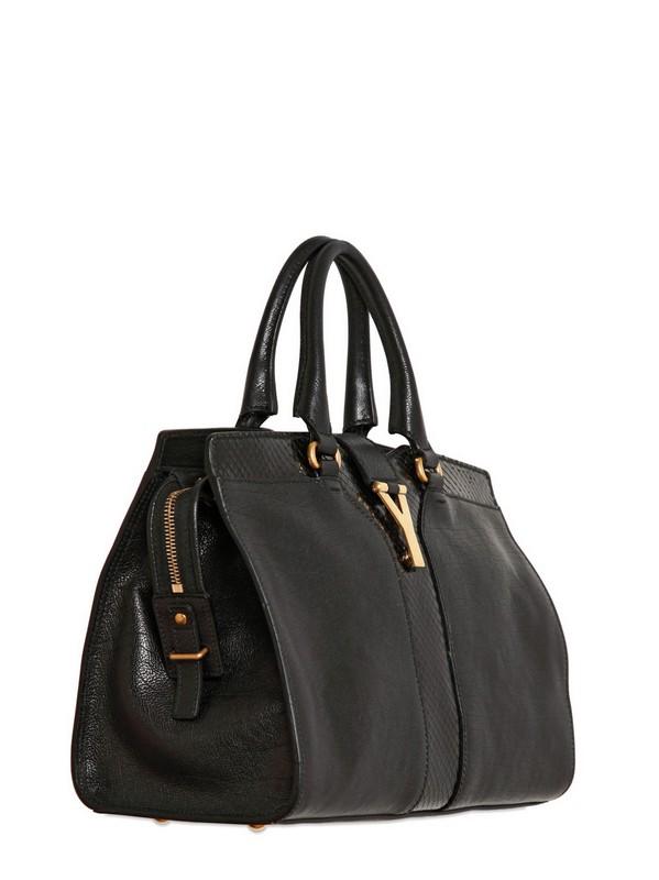 Saint laurent Mini Cabas Chyc Strap Shoulder Bag in Black | Lyst