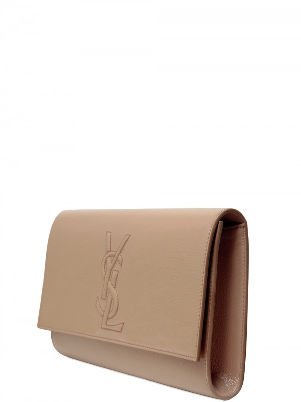 ysl monogram tassel clutch - Saint laurent Belle Du Jour Patent Clutch in Beige (blush) | Lyst