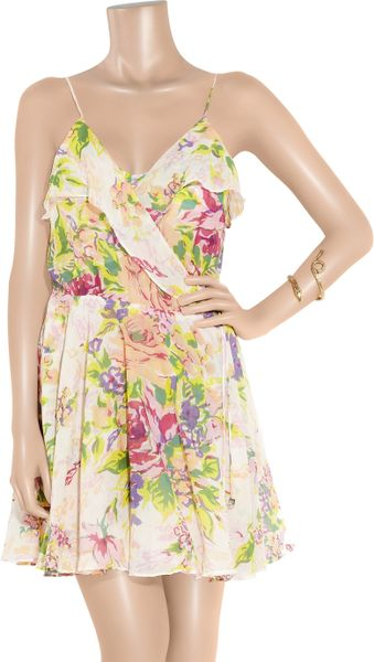 Zimmermann Floral Print Cotton Wrap Dress In Floral Lyst