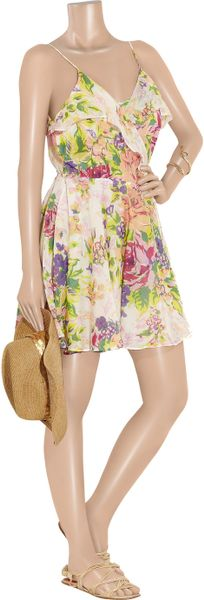 Zimmermann Floral Print Cotton Wrap Dress In Floral Lyst