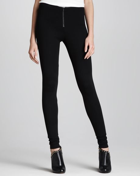 Alice + Olivia Frontzip Leggings in Black - Lyst