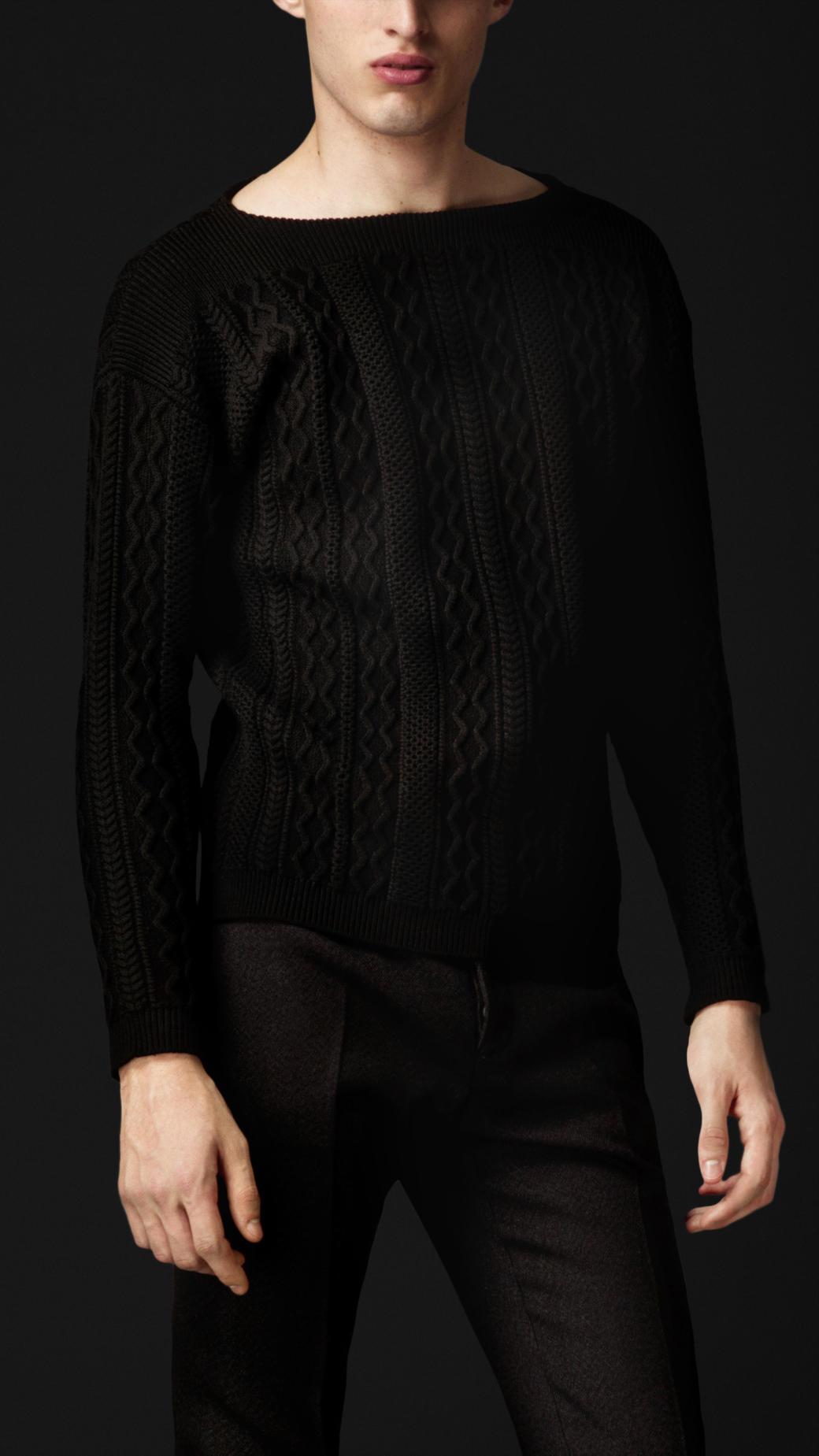 Burberry Prorsum Aran Knit Wool Sweater in Black for Men ...