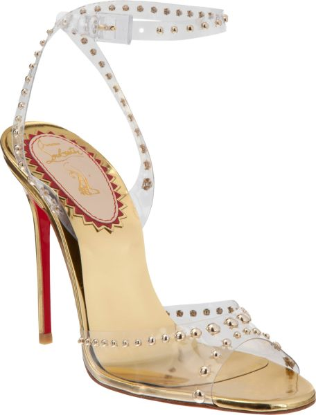 Christian Louboutin Icone A Clous Sandals in Gold (silver) - Lyst