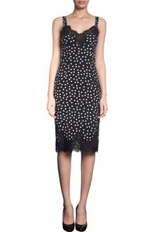 Dolce & Gabbana Lace Trim Polka Dot Slip Dress - Lyst