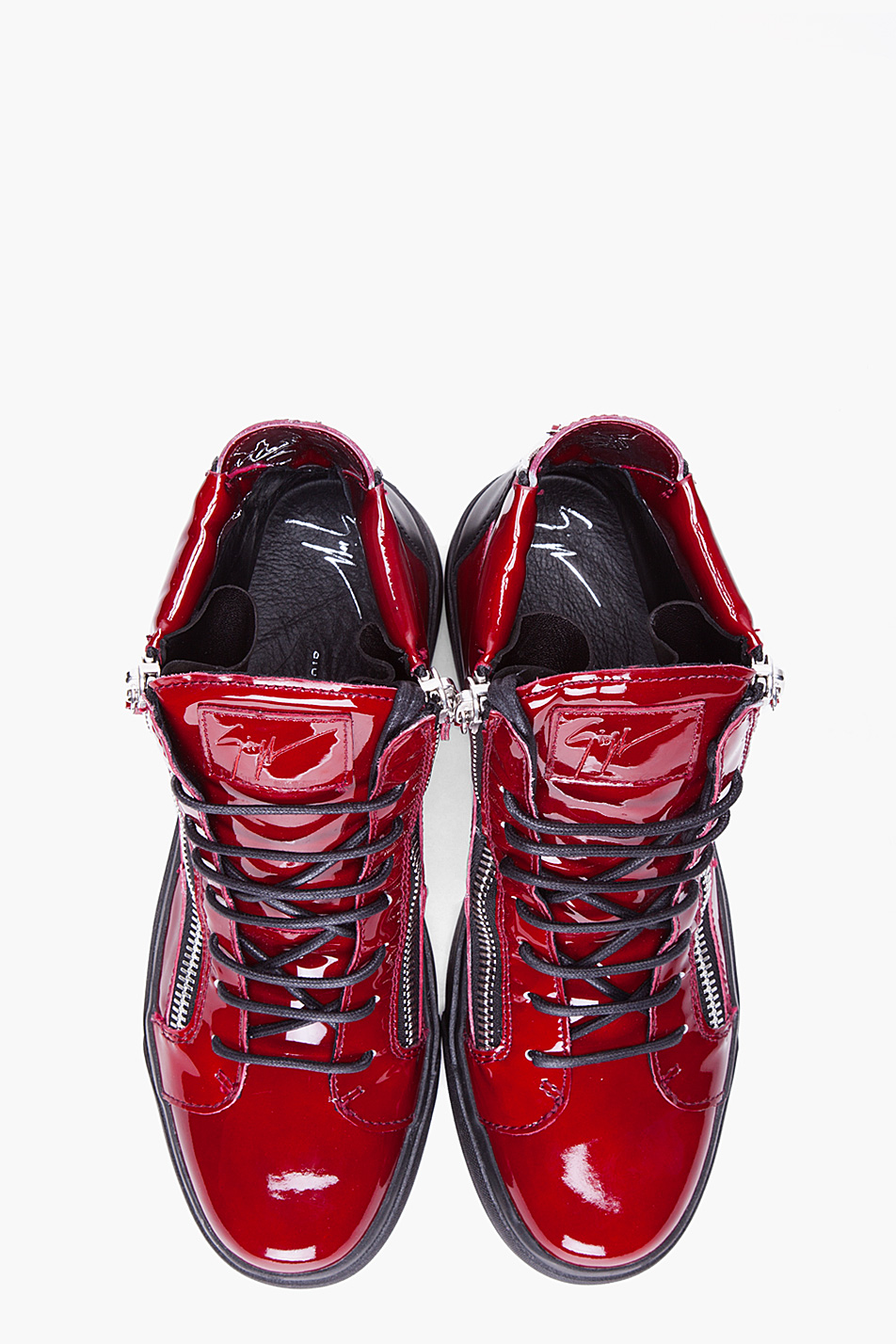 Giuseppe Zanotti Red Patent Leather Sneakers For Men Lyst