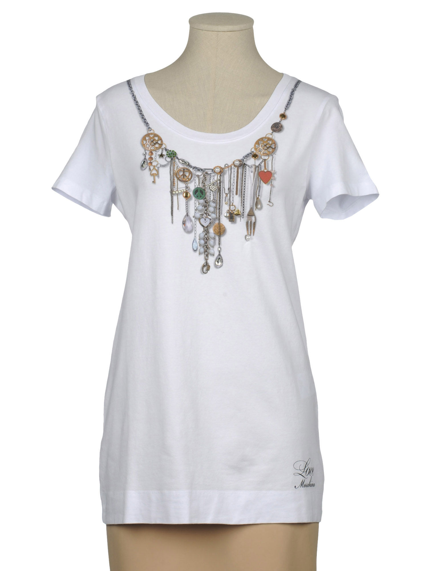 love moschino short sleeve t shirt in white grey lyst. Black Bedroom Furniture Sets. Home Design Ideas