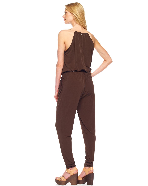 michael kors draped halter jumpsuit in brown olive lyst. Black Bedroom Furniture Sets. Home Design Ideas