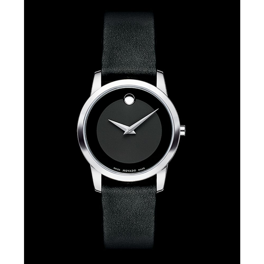 movado womens swiss museum black leather strap watch in