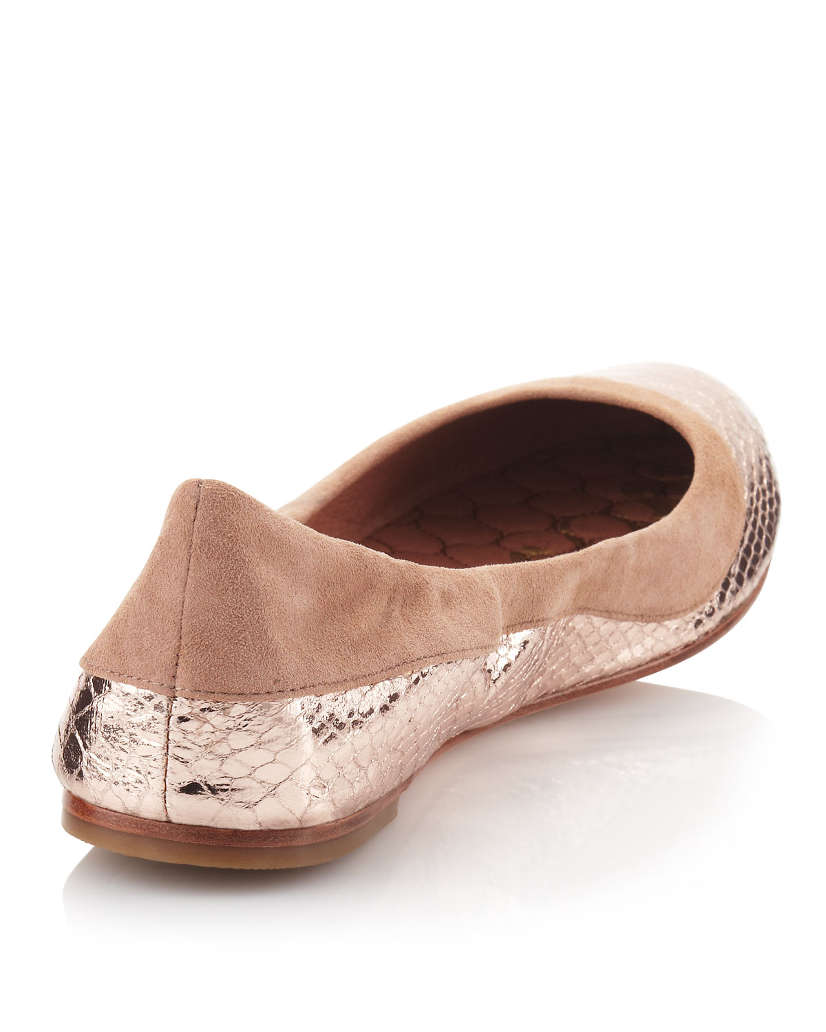 023a280a67a Lyst - Sam Edelman Bina Ballerina Flat Rose Gold in Natural