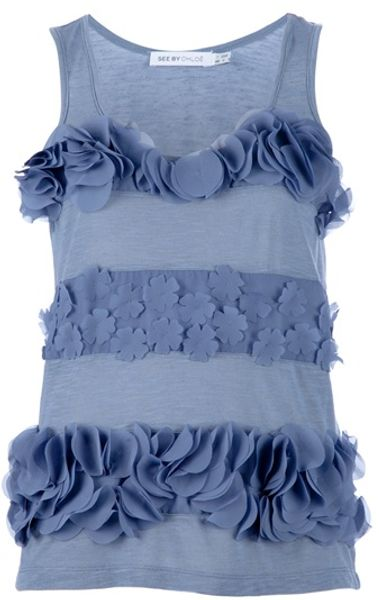 See By Chloé Floral Vest in Blue (floral) - Lyst