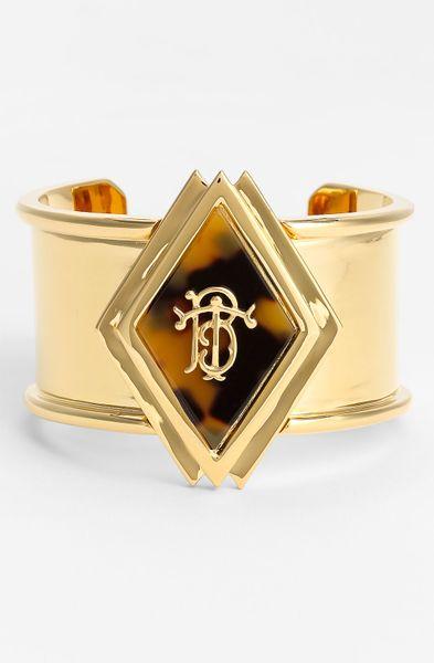 Tory Burch Wide Monogram Cuff in Gold (tortoise/ gold)