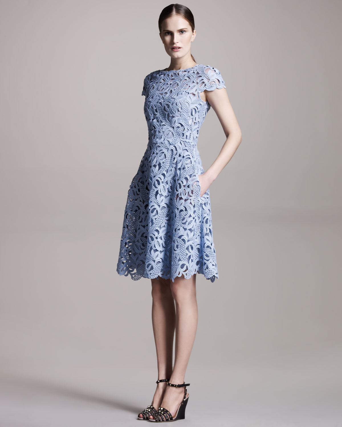Lyst Valentino Cap Sleeve Lace Dress In Blue