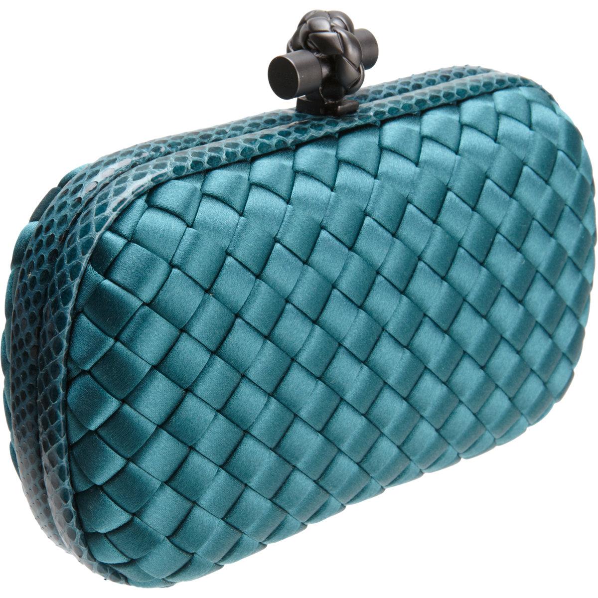 cdef640ffc Bottega Veneta Knot Intrecciato Satinsnakeskin Clutch in Blue - Lyst