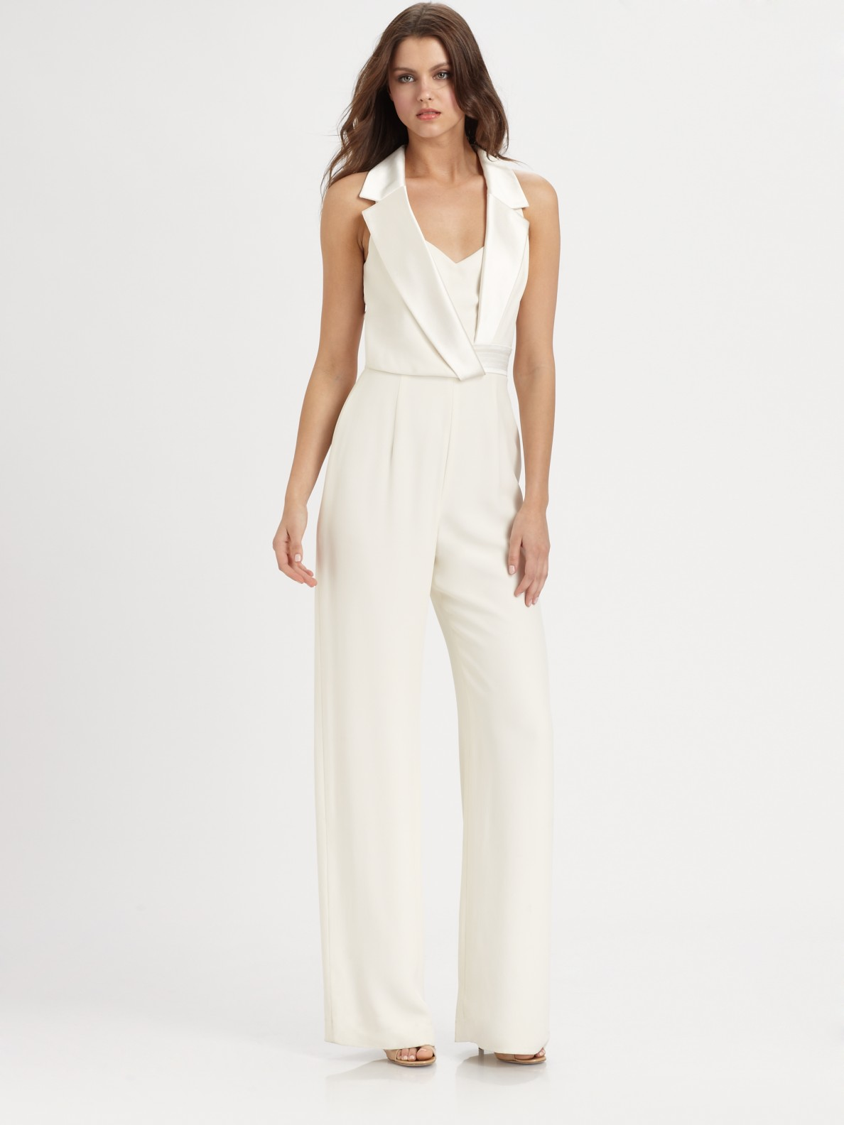 Theia Silk Jumpsuit in White | Lyst
