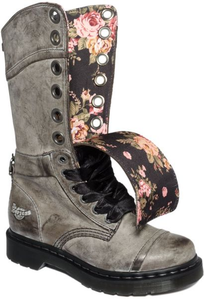 Dr Martens Triumph Boots In Gray Black Floral Lyst