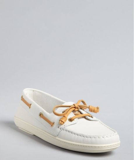 tod s white leather marlin barca boat shoes in white lyst