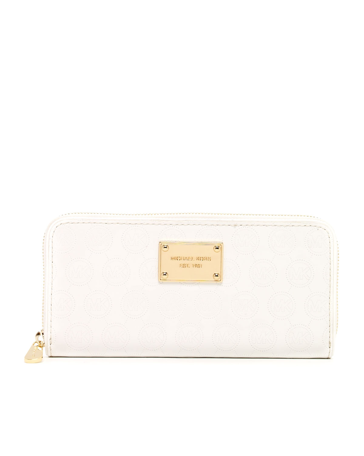 73dad7f0b8ff monogram leather large flap continental wallet, white