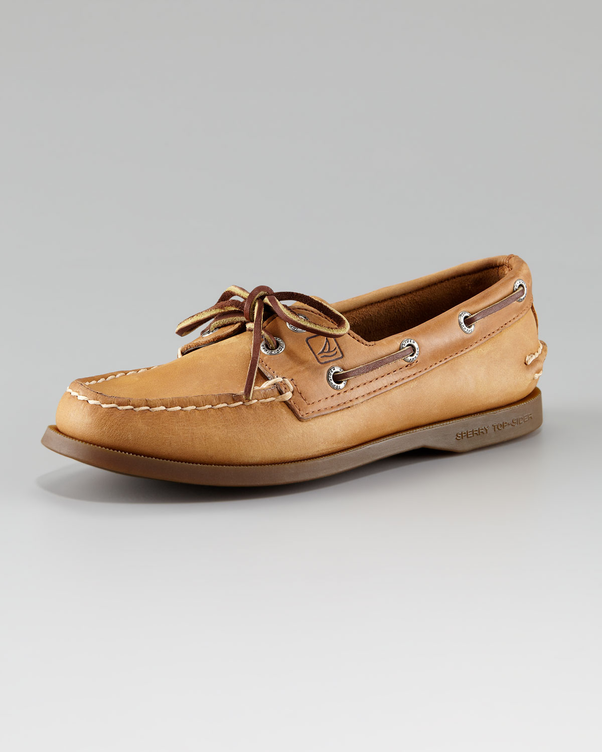 Sperry top sider authentic nubuck boat shoe in brown for Best boat shoes for fishing