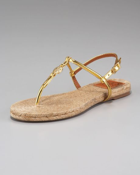a6e98afb7 Tory Burch Emmy Espadrille Flat Sandals in Gold