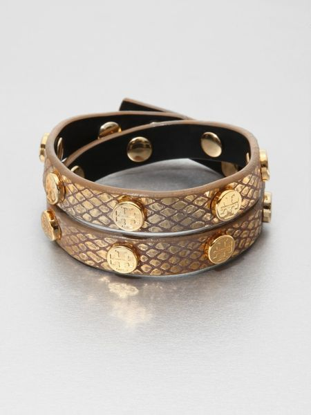 Tory Burch Python Embossed Leather Wrap Bracelet In Gold