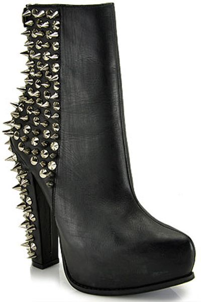 Jeffrey Campbell Avalos Black Leather Spiked Platform Bootie in Black