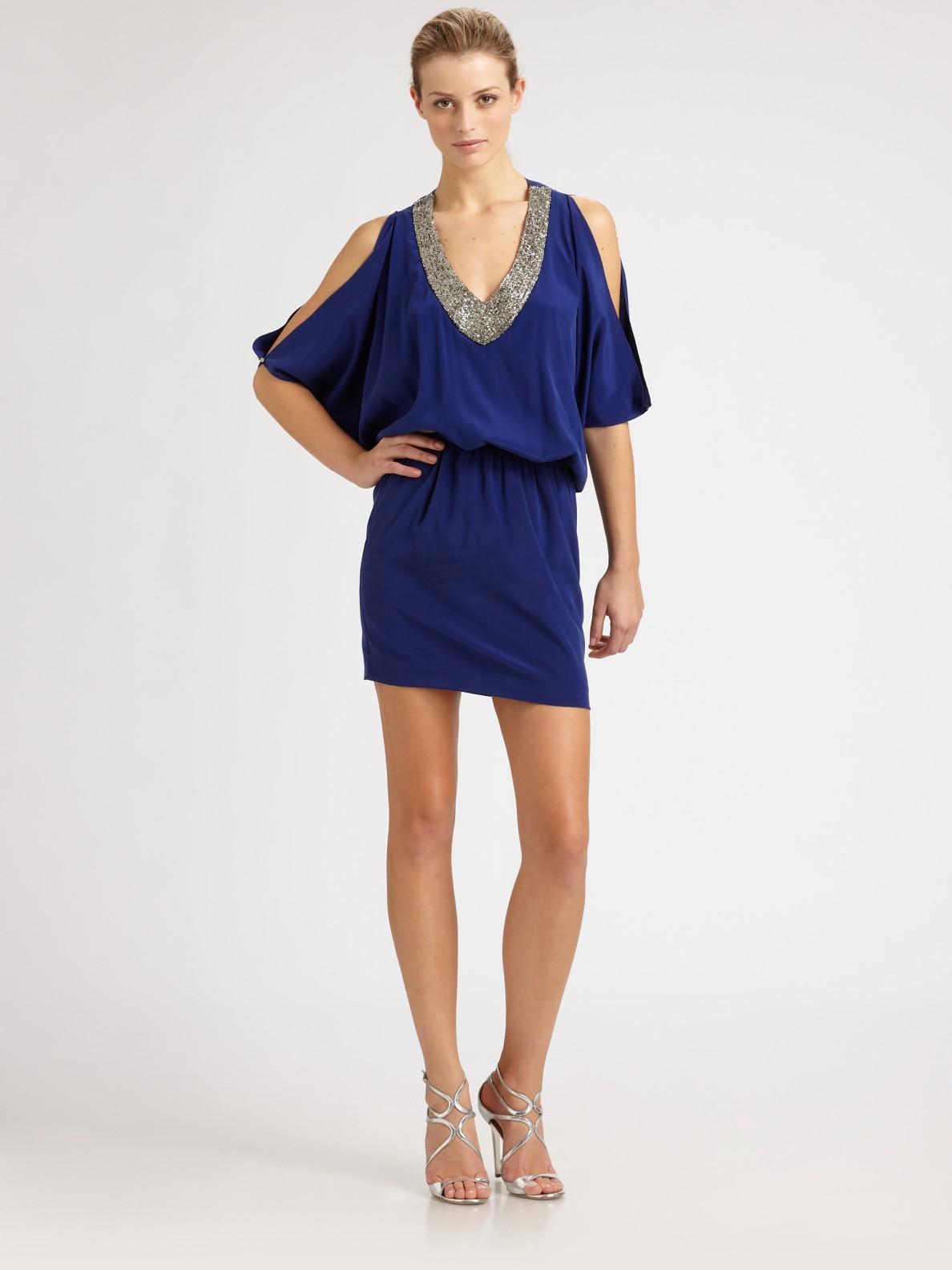 Nicole Miller Beaded Silk Dress In Blue Lyst