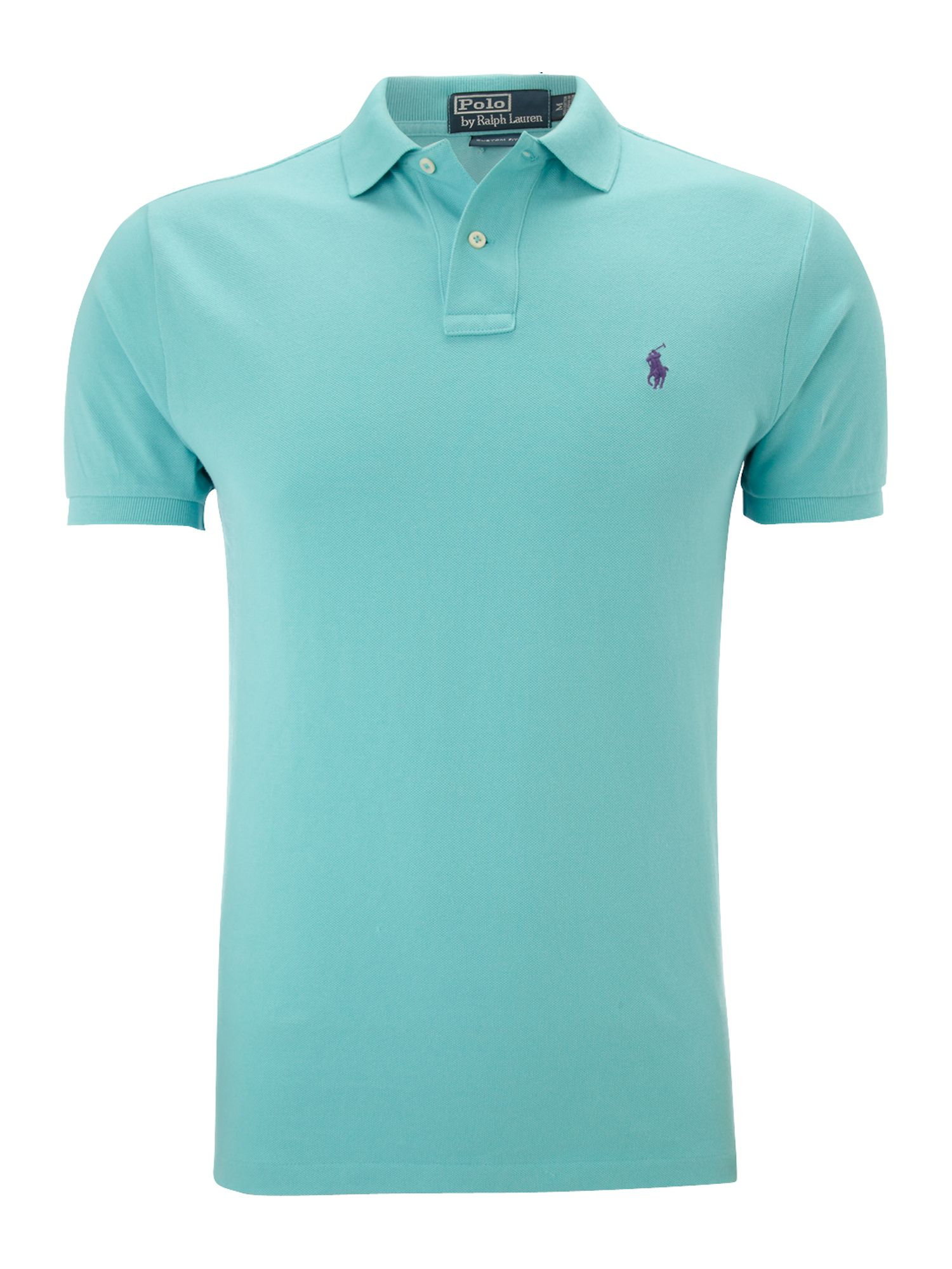 Polo ralph lauren classic custom fitted polo shirt in blue for Custom design polo shirts