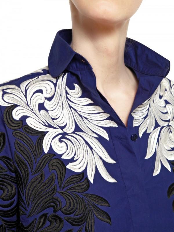 4ce427a68c Stella McCartney Blue Flower Silk Embroidery Cotton Shirt