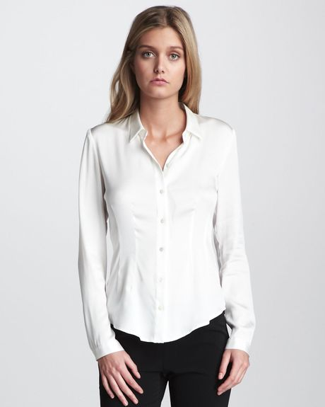 Theory Satin Blouse in White