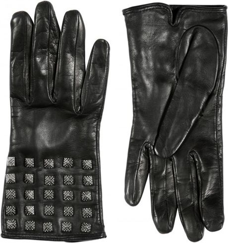 Valentino So Noir Limited Studded Leather Gloves in Black - Lyst