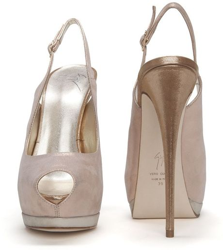 Closeout Giuseppe Zanotti Slingbacks - Shoes Giuseppe Zanotti Tri Color Metallic Platform Slingback Rose 1