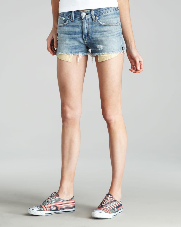 9c107b6428ea1 Lyst - Rag   Bone Moss Mila Cutoff Shorts in Blue