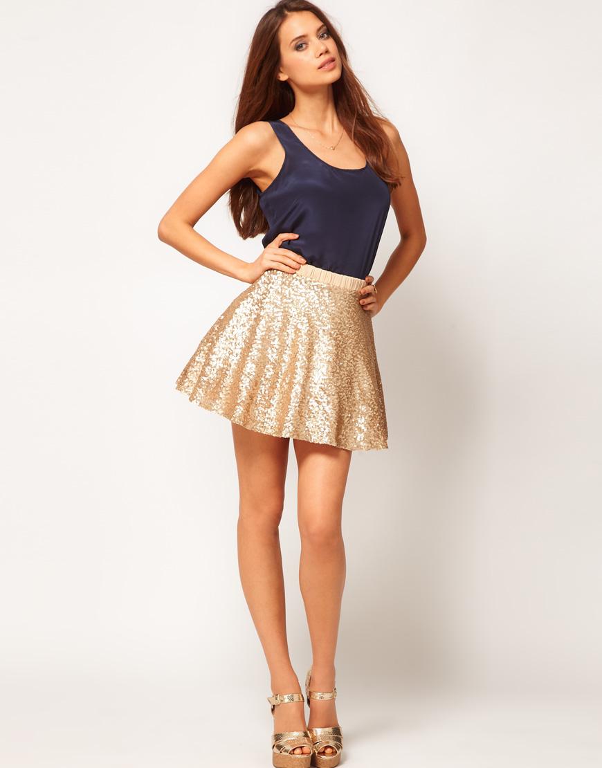b157f5b2c6 TFNC London Sequin Prom Skater Skirt in Metallic - Lyst