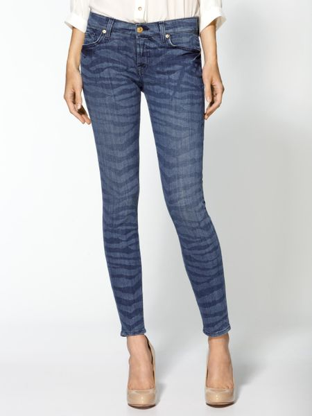 7 For All Mankind The Crop Skinny Jeans in Blue (laser zebra)
