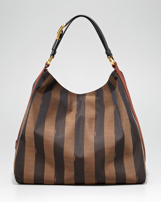 Lyst - Fendi Pequin Tonal Stripe Hobo in Brown 59cd4741f1