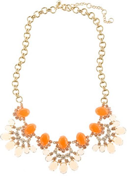 J.crew Cabochon Fan Necklace in Orange (peach blossom)