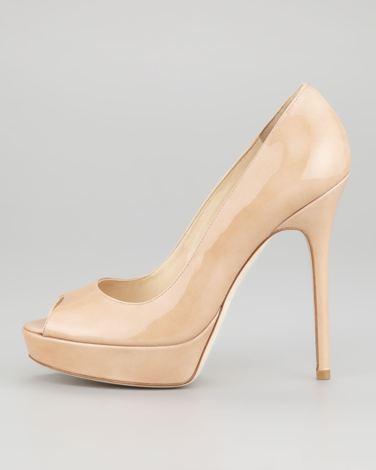 cf4b92fc1897 Lyst - Jimmy Choo Crown Peep Toe Pump Nude in Natural
