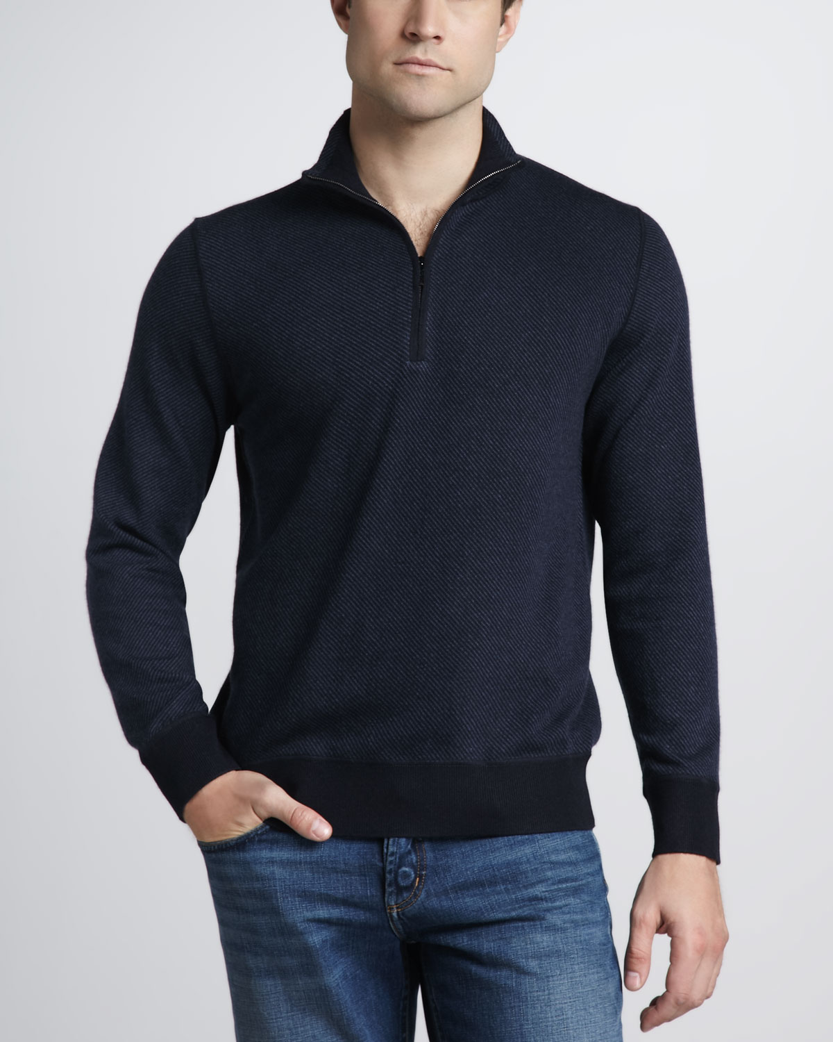 Loro piana Roadster Halfzip Cashmere Sweater Navy in Blue for Men ...