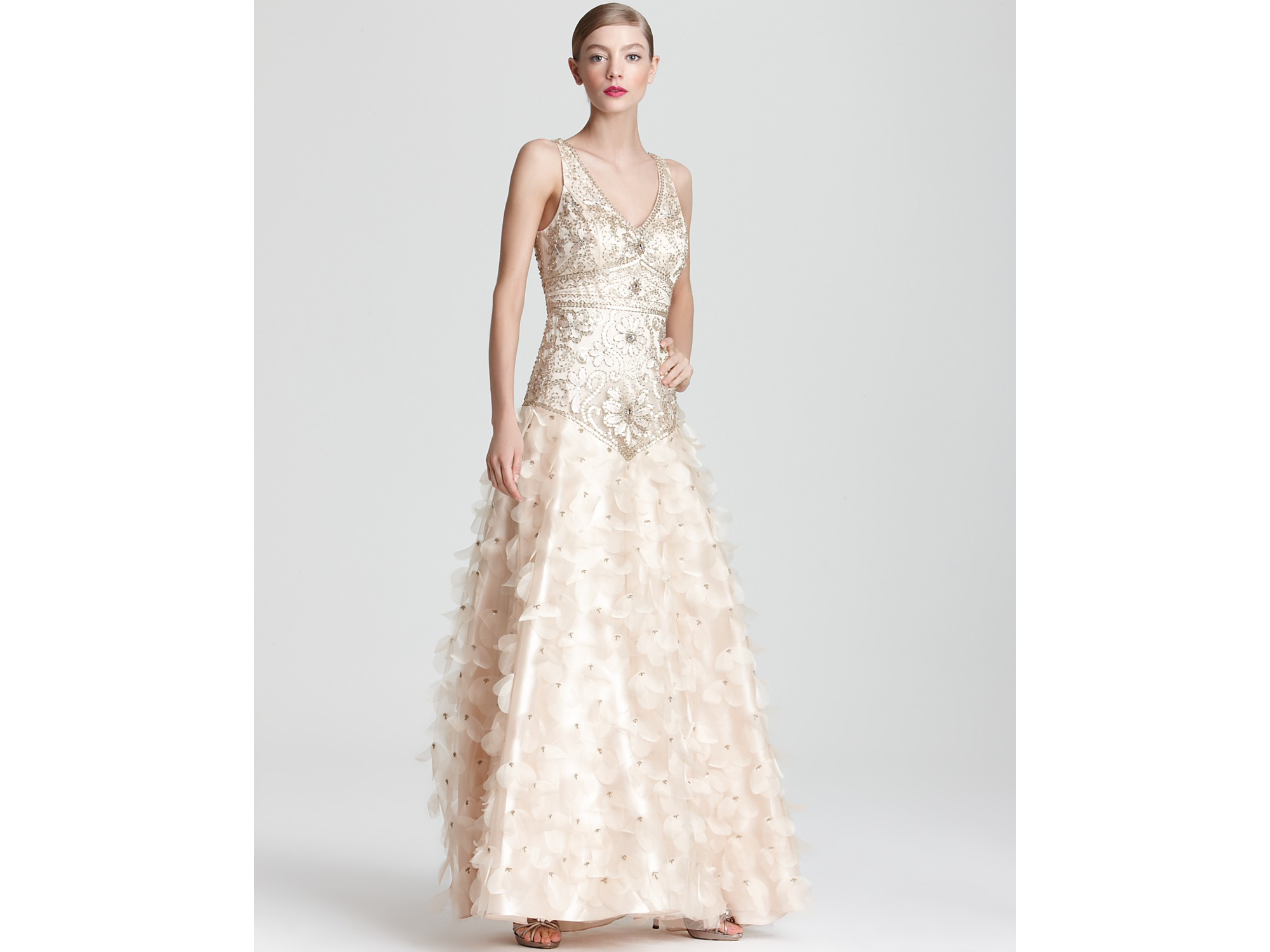 Lyst - Sue Wong Embellished Gown V Neck in Natural
